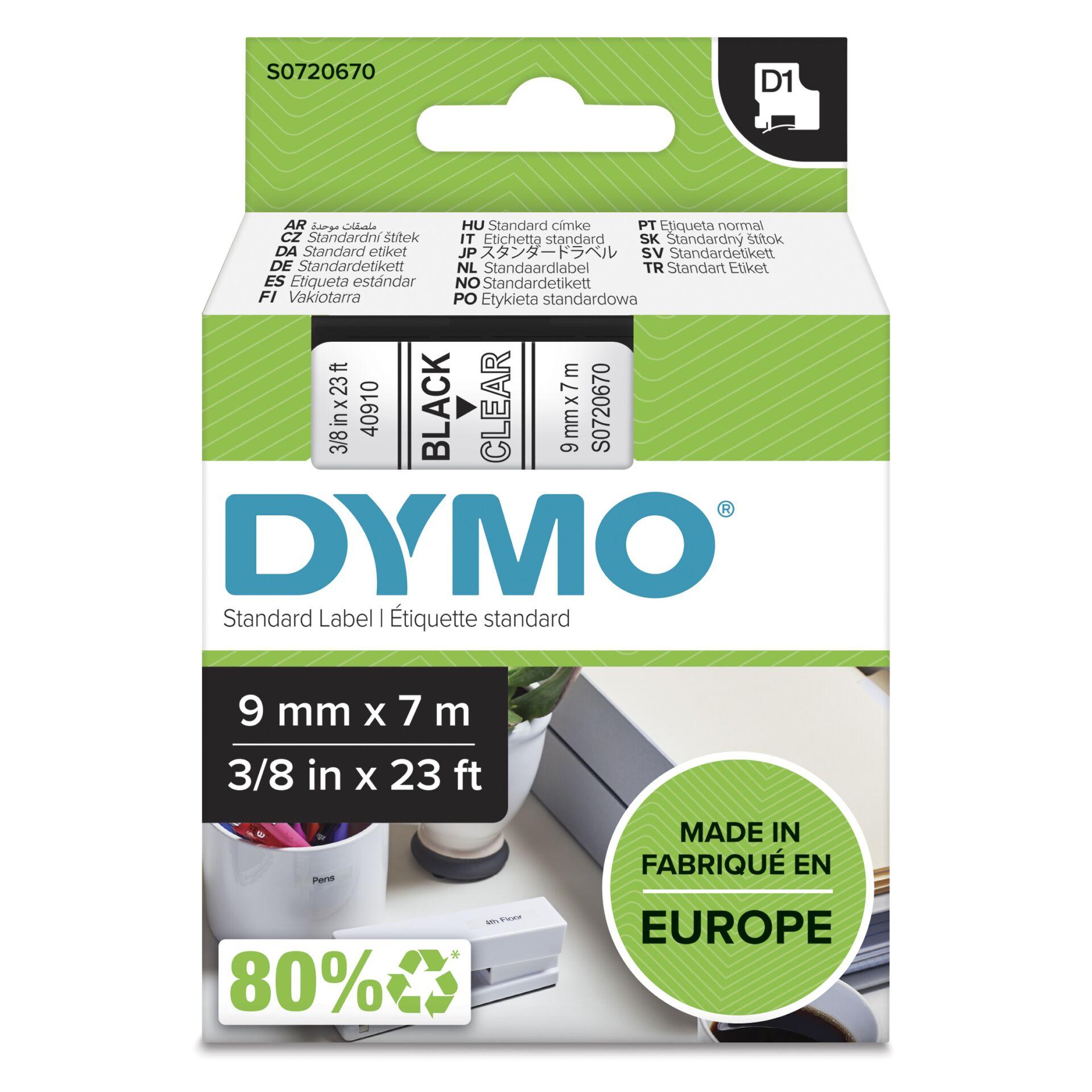 Dymo D1 Schriftband 9 mm x 7 m schwarz auf transparent    40910