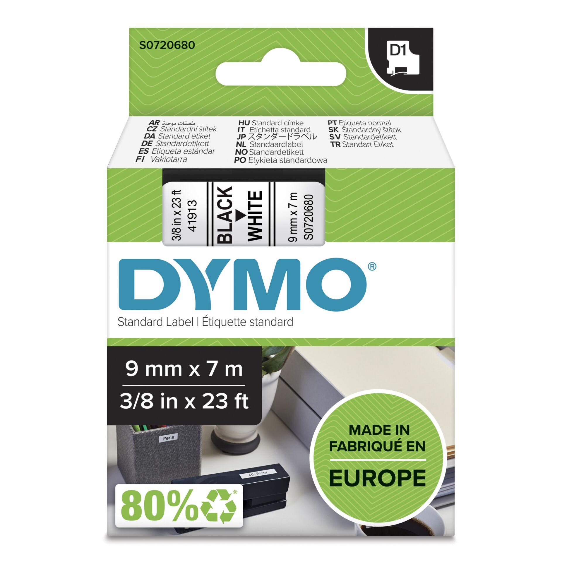 Dymo D1 Schriftband 9 mm x 7 m schwarz auf weiß           40913