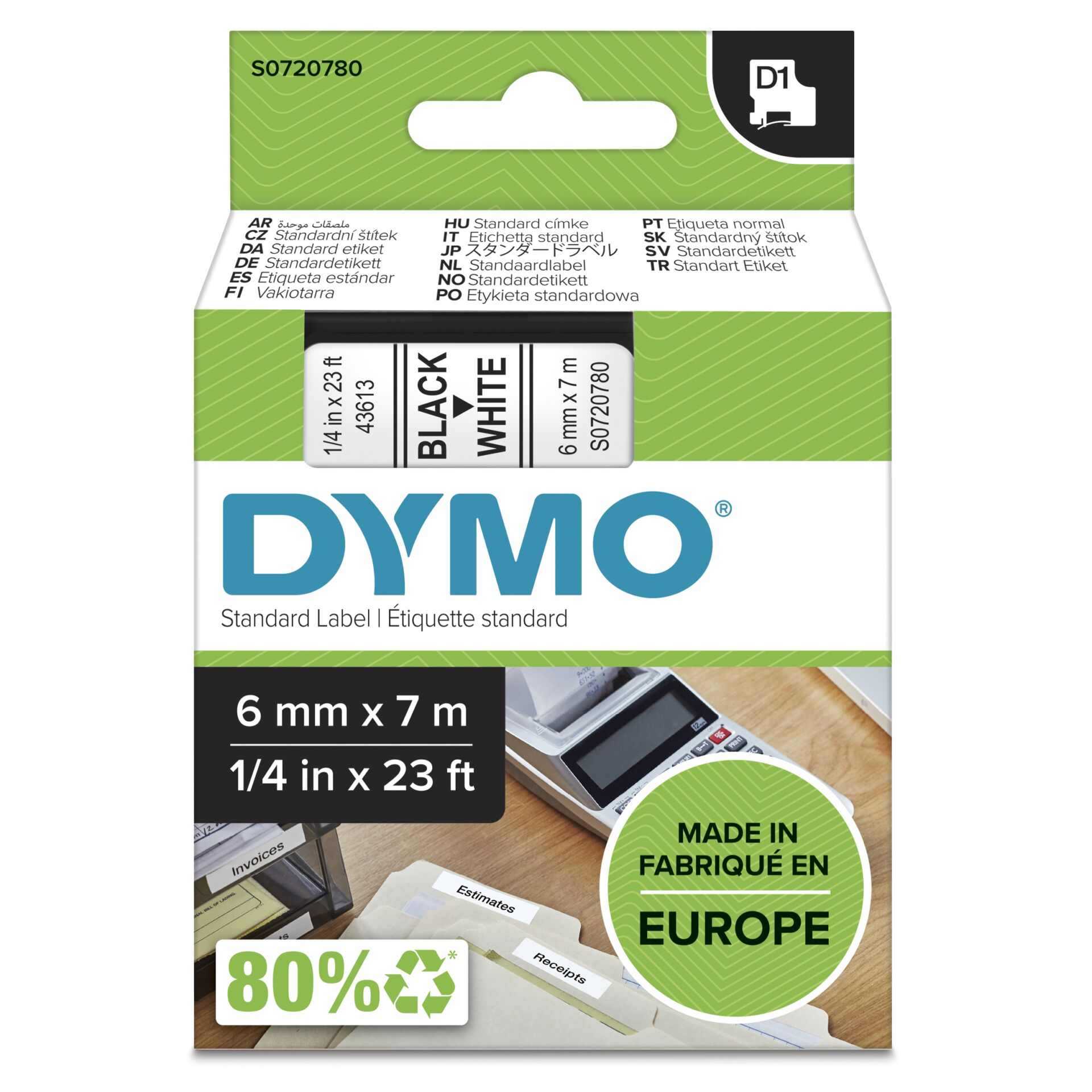 Dymo D1 Schriftband 6 mm x 7 m schwarz auf weiß           43613