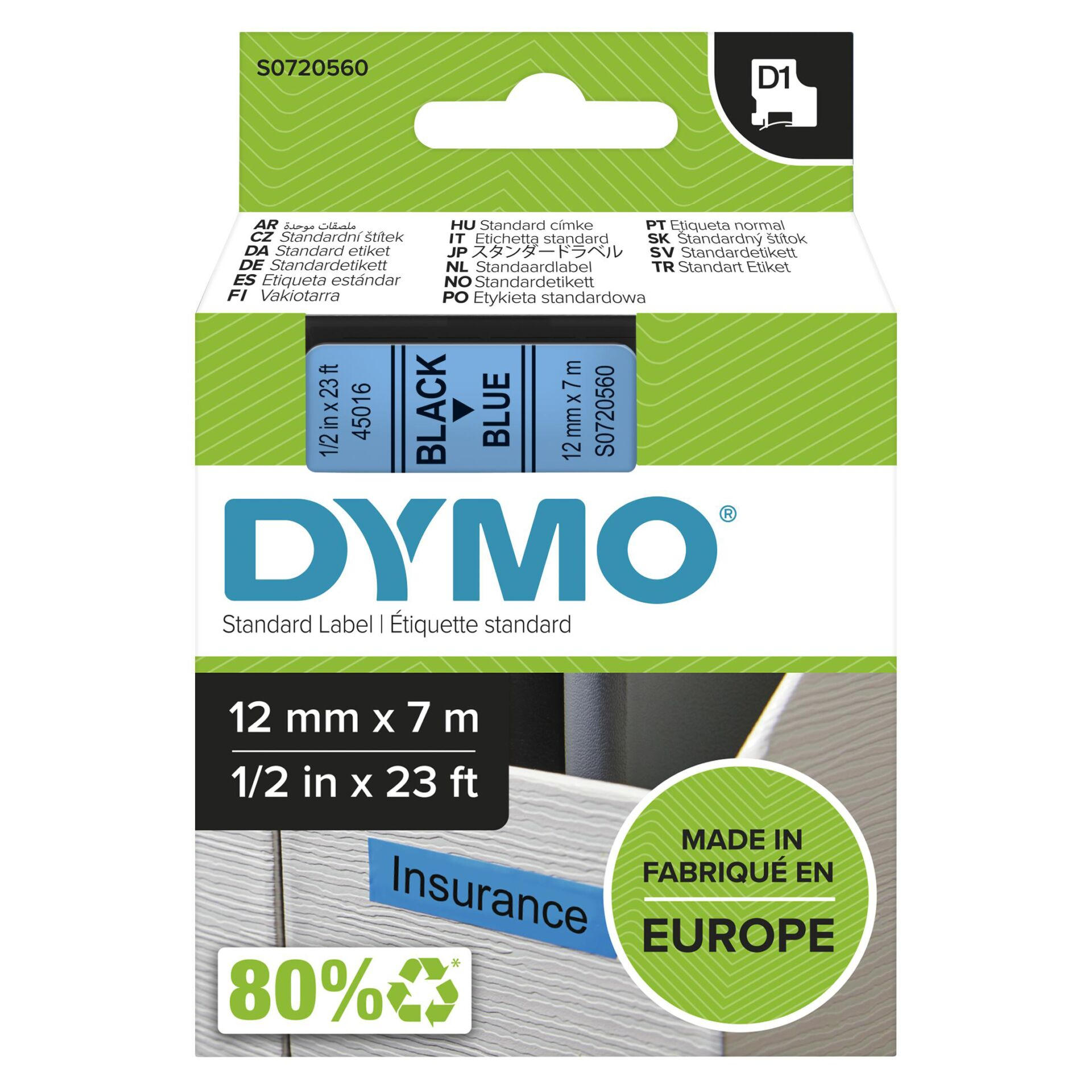 Dymo D1 Schriftband 12 mm x 7 m schwarz auf blau           45016