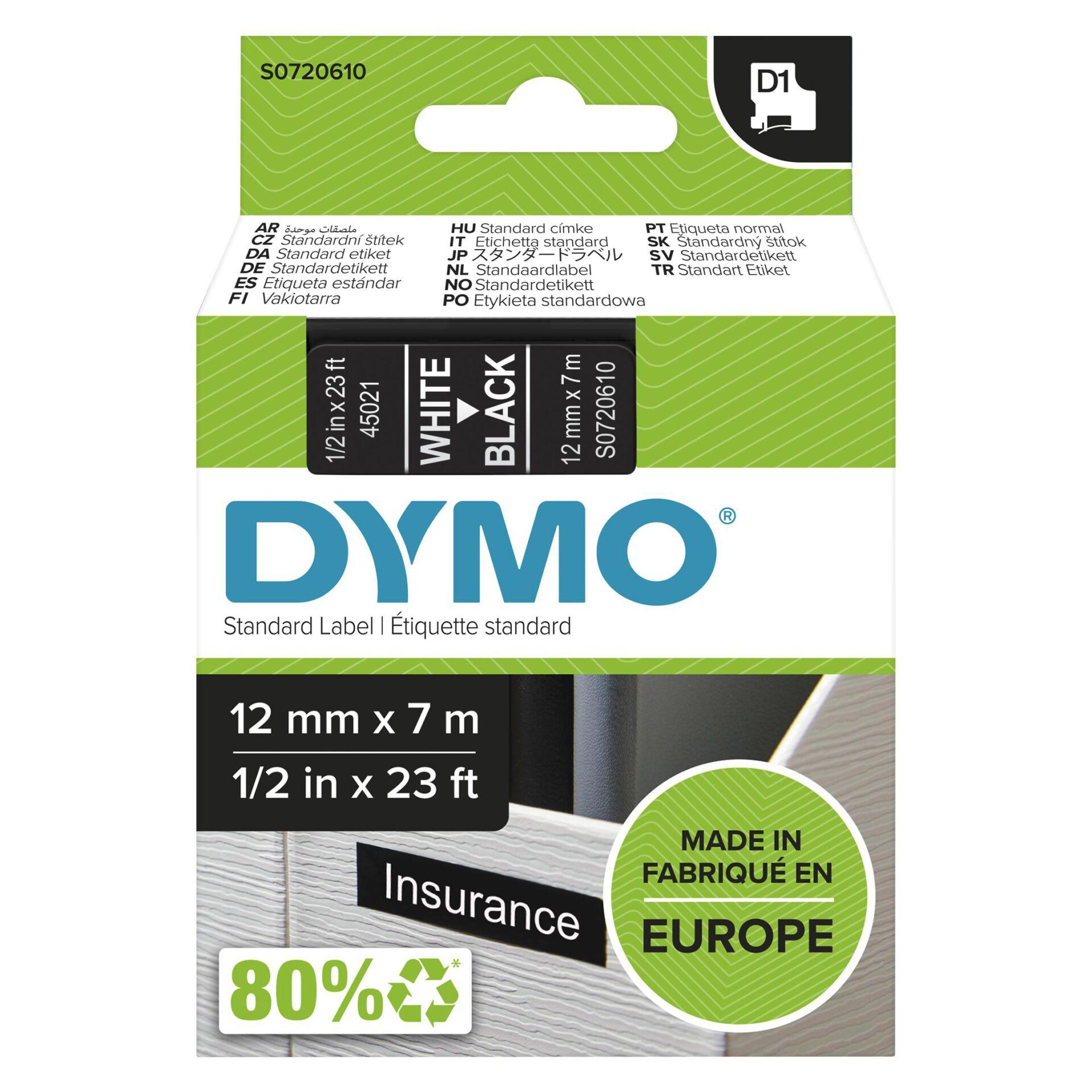Dymo D1 Schriftband 12 mm x 7 m weiß auf schwarz           45021