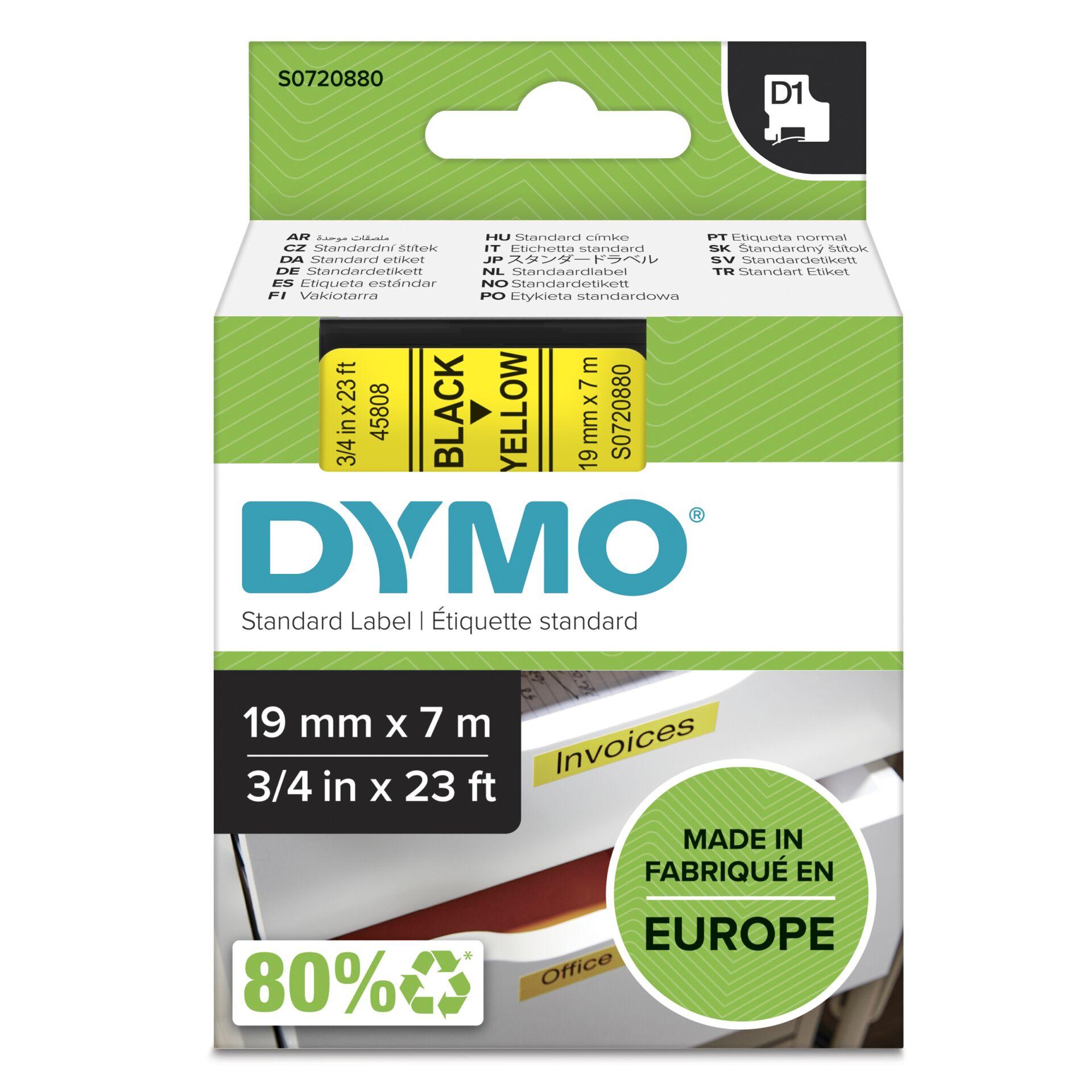Dymo D1 Schriftband 19 mm x 7 m schwarz auf gelb           45808