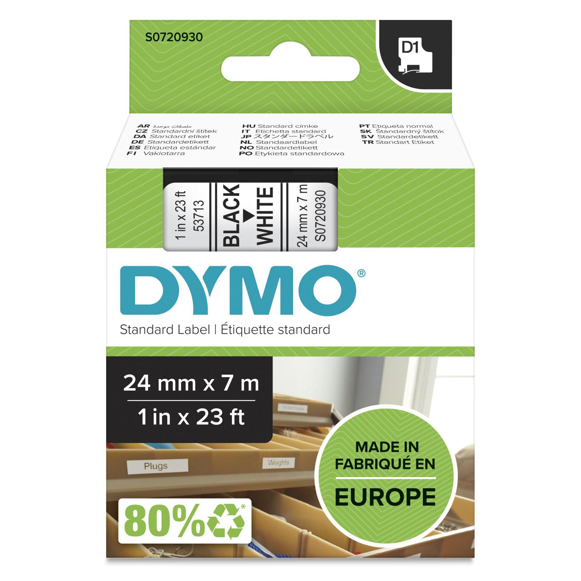Dymo D1 Schriftband 24 mm x 7 m schwarz auf weiß           53713
