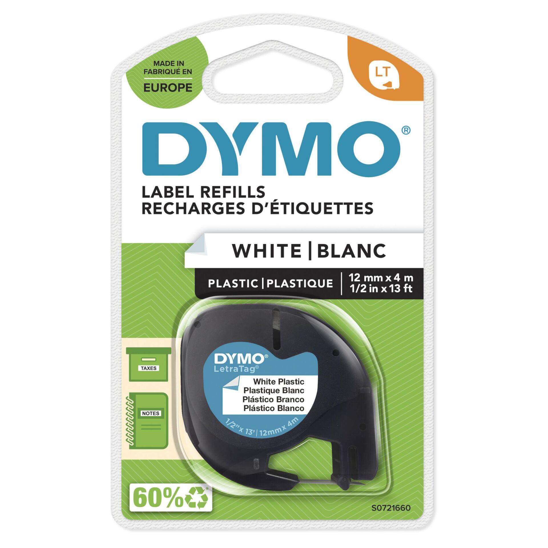 Dymo Letratag Band Plastik weiß 12 mm x 4 m           91221