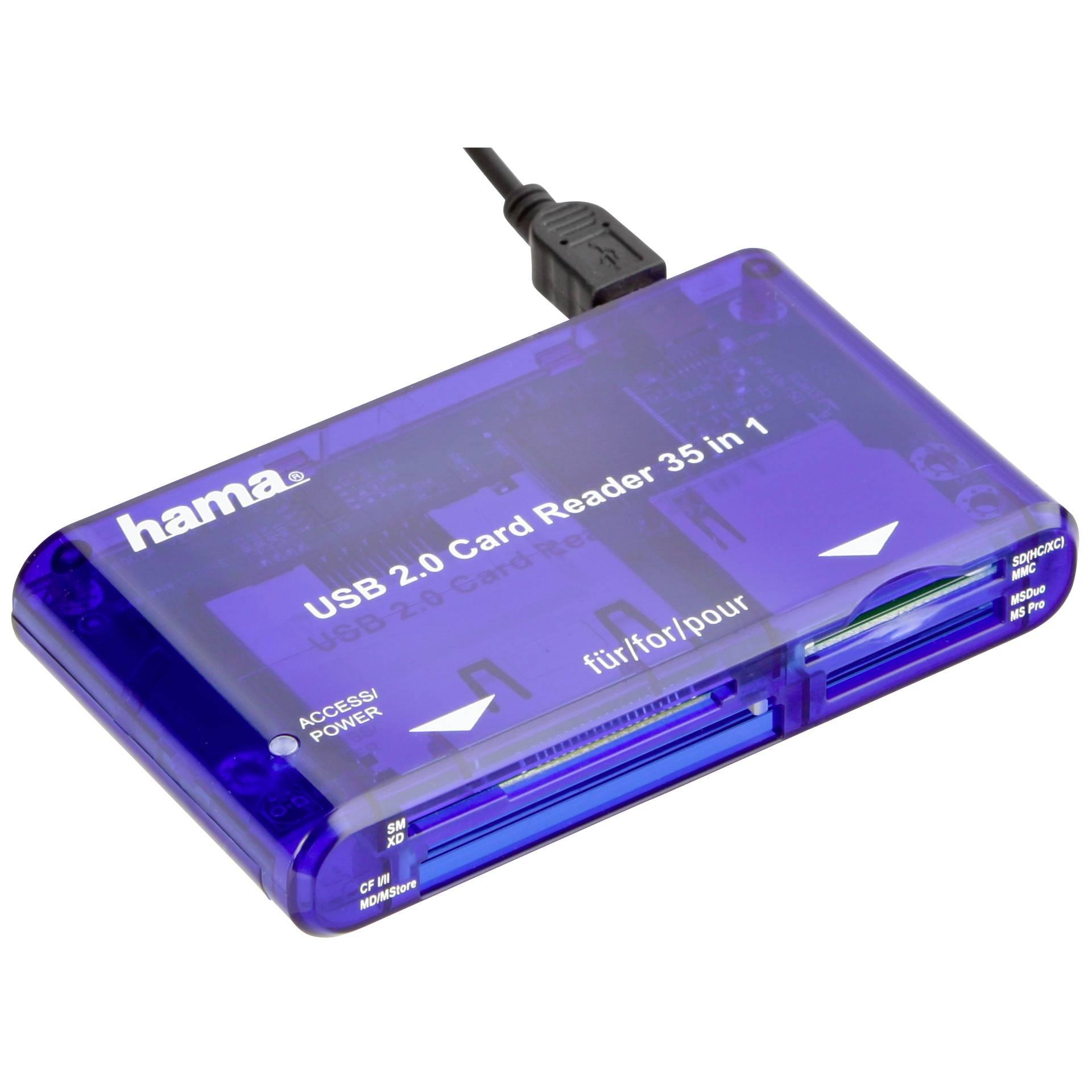 Hama USB 2.0 Multi-Kartenleser 35 in  1, blau             55348