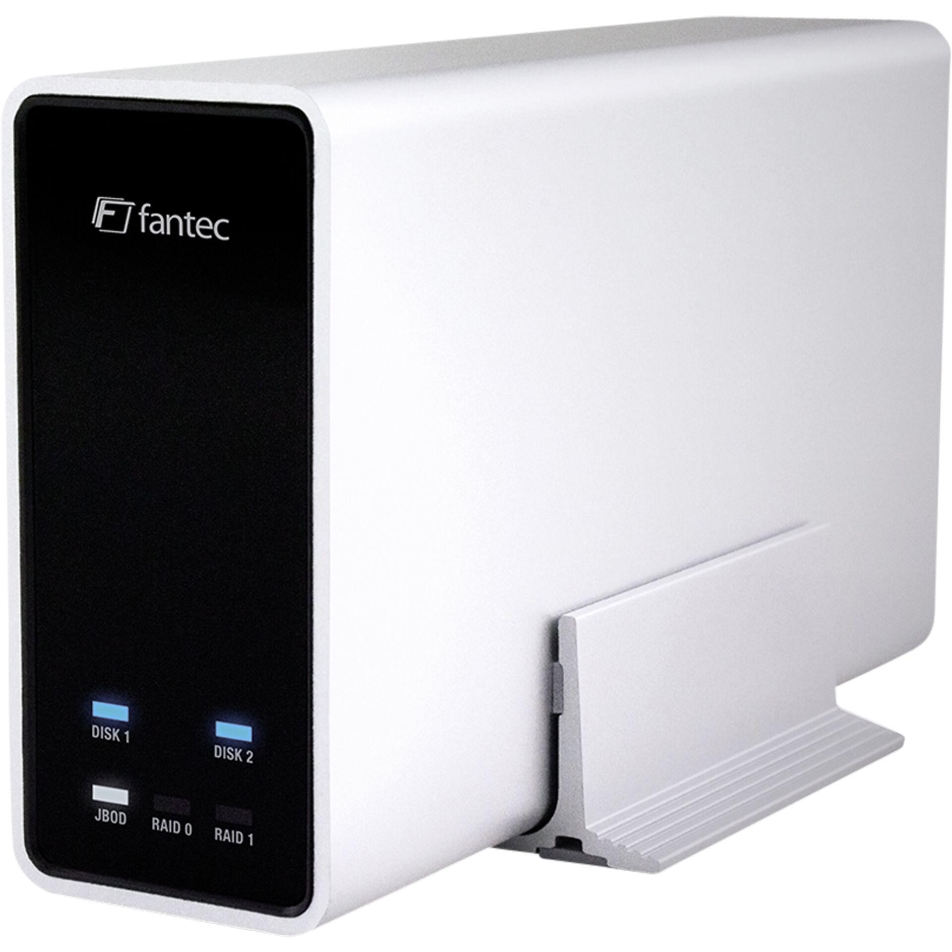 "FANTEC mobiRAID X2 silber 2x2,5\"" SATA RAID0/1/JBOD USB3."