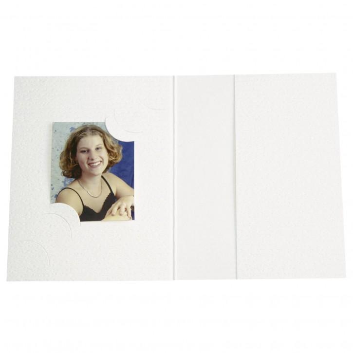 1x100 Daiber Passbildmappen weiß für 3 Bildformate