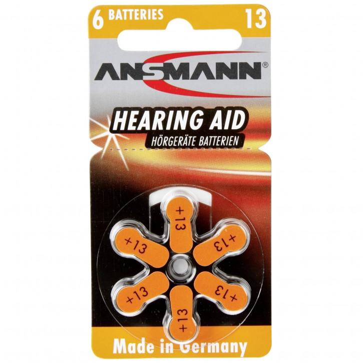 1x6 Ansmann Zinc-Air 13 (PR48) Hörgeräte Batterien
