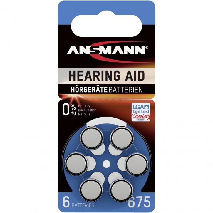 1x6 Ansmann Zinc-Air 675 (PR44) Hörgeräte Batterien
