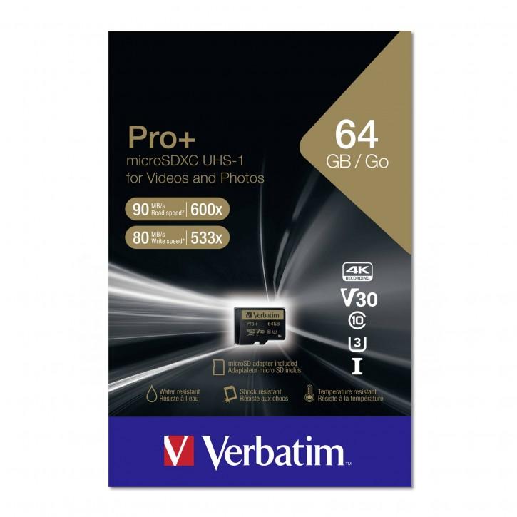 Verbatim microSDXC Pro+     64GB Class 10 UHS-I incl Adapter