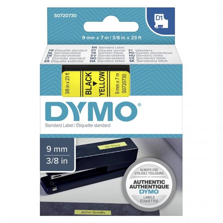Dymo D1 Schriftband 9 mm x 7 m schwarz auf gelb           40918