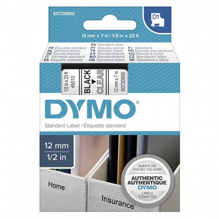 Dymo D1 Schriftband 12 mm x 7 m schwarz auf transparent    45010