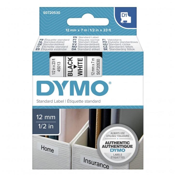 Dymo D1 Schriftband 12 mm x 7 m schwarz auf weiß           45013