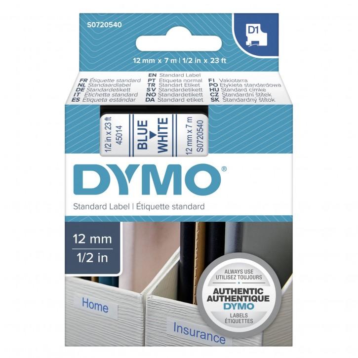 Dymo D1 Schriftband 12 mm x 7 m blau auf weiß              45014