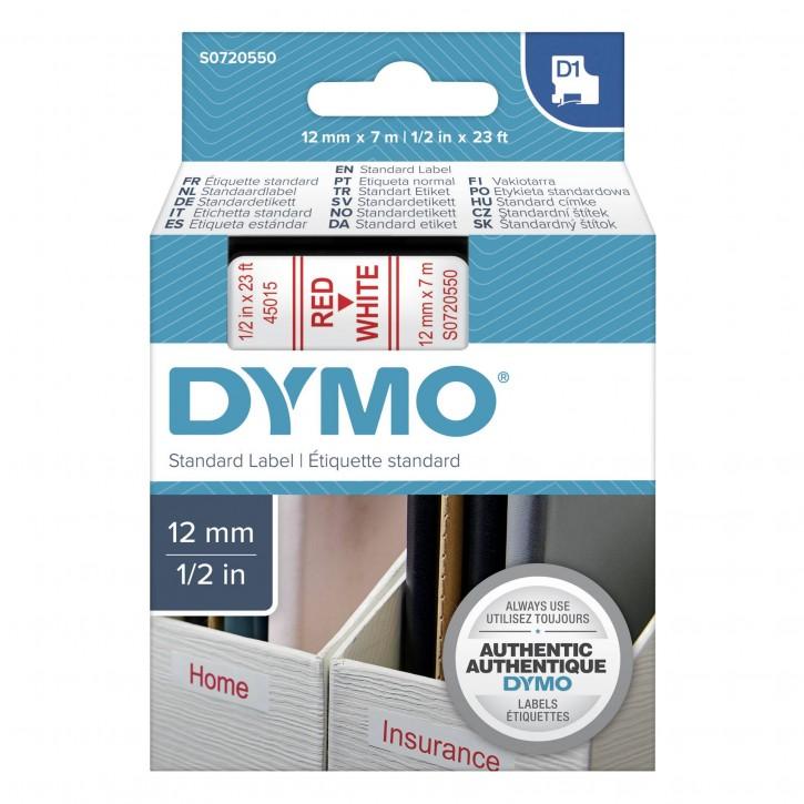 Dymo D1 Schriftband 12 mm x 7 m rot auf weiß               45015