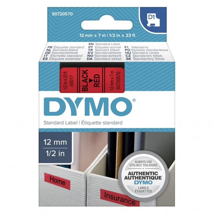 Dymo D1 Schriftband 12 mm x 7 m schwarz auf rot            45017