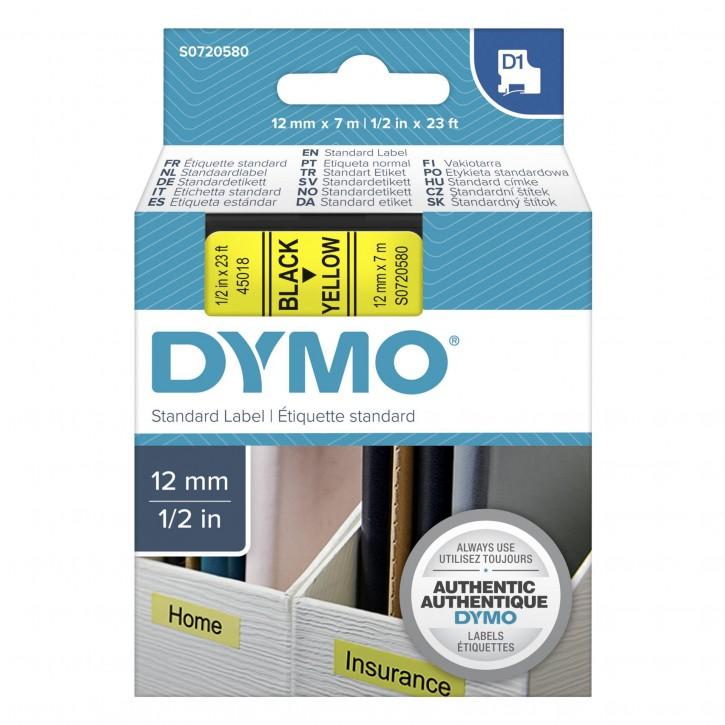 Dymo D1 Schriftband 12 mm x 7 m schwarz auf gelb           45018