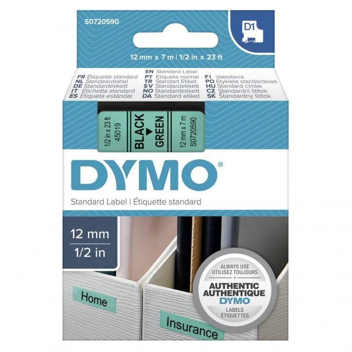 Dymo D1 Schriftband 12 mm x 7 m schwarz auf grün           45019