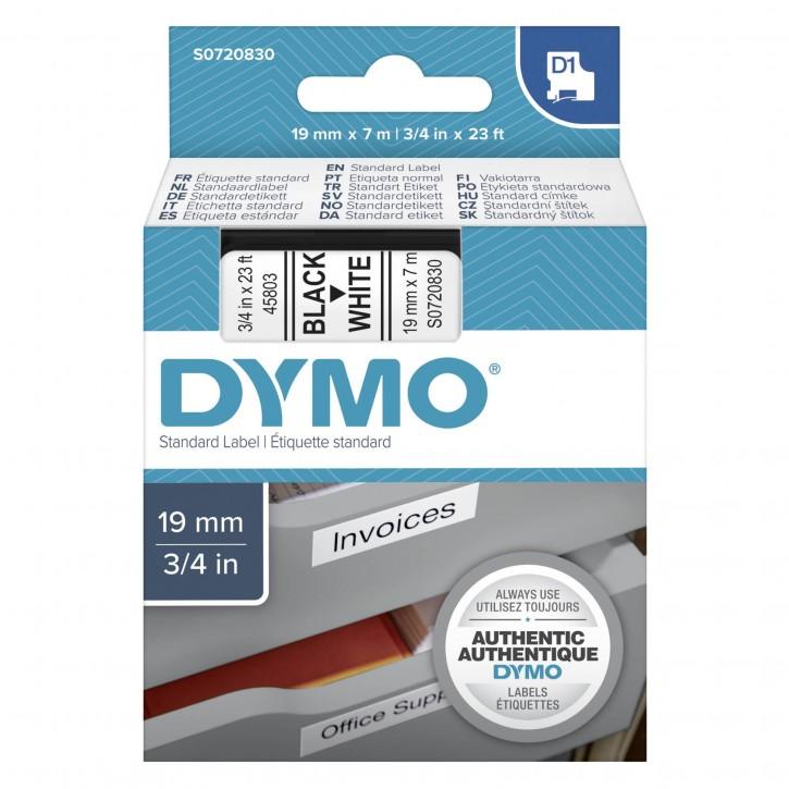 Dymo D1 Schriftband 19 mm x 7 m schwarz auf weiß           45803