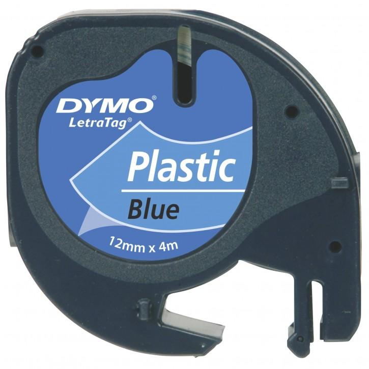 Dymo Letratag Band Plastik blau 12 mm x 4 m           91225
