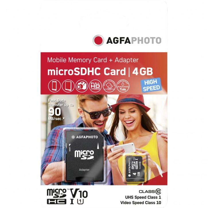 AgfaPhoto MicroSDHC UHS-I    4GB High Speed Class 10 U1 + Adapter