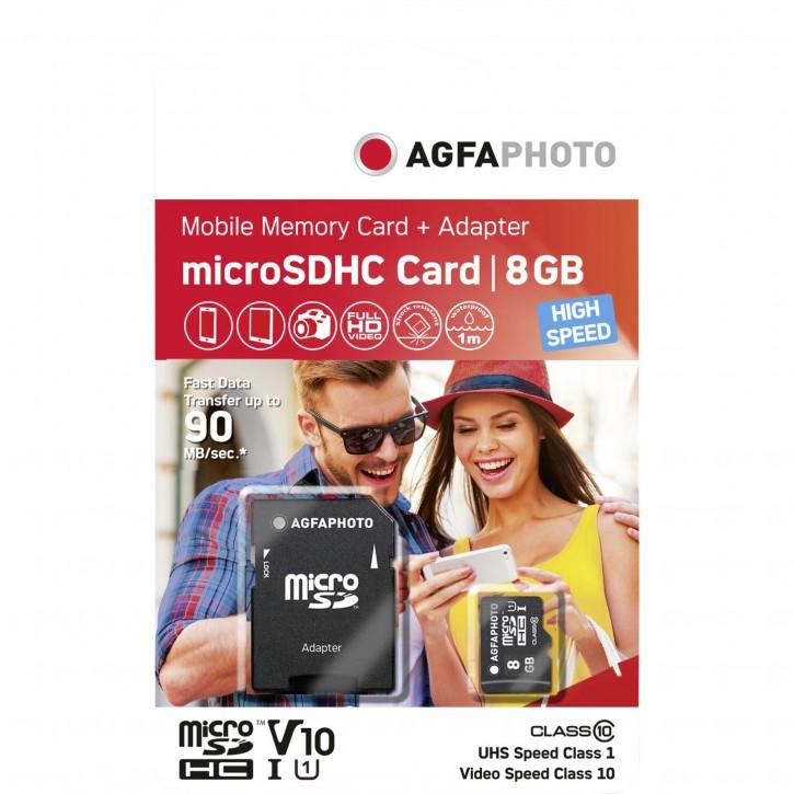 AgfaPhoto MicroSDHC UHS-I    8GB High Speed Class 10 U1 + Adapter