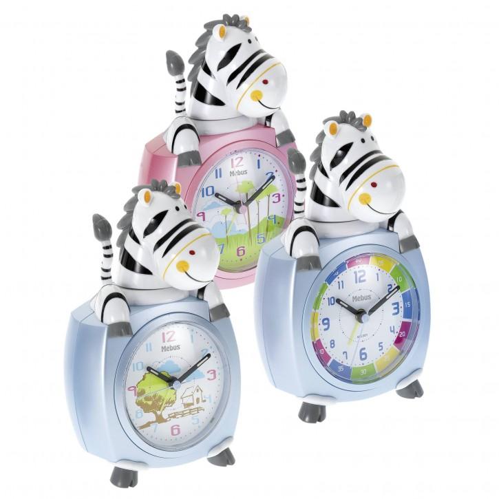 Mebus 26637 Kinder-Quarzwecker Motiv Zebra    farblich sortiert
