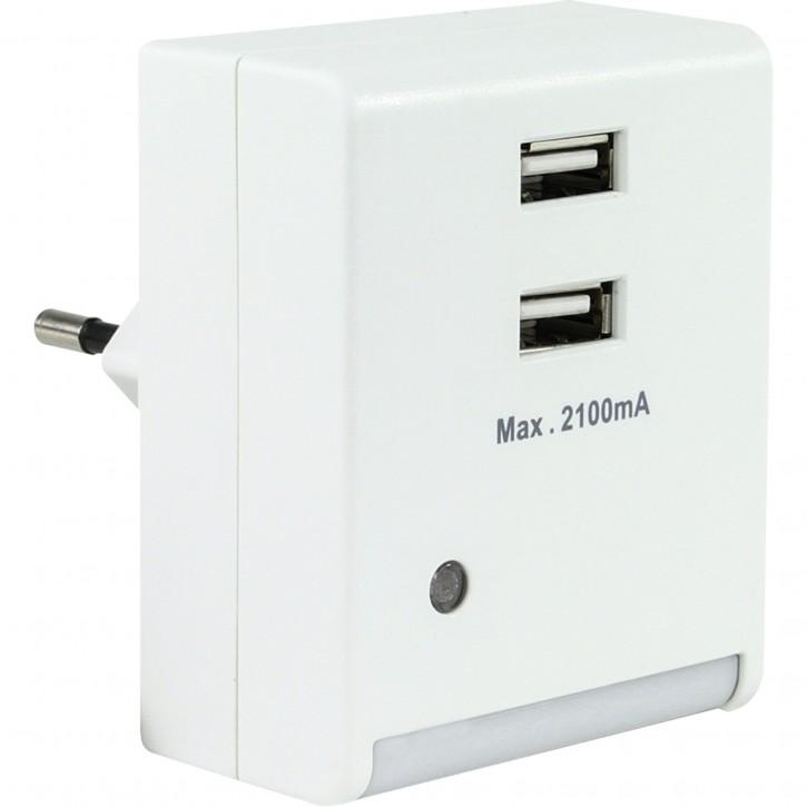 REV Nachtlicht mit 2-fach USB Anschluss weiss