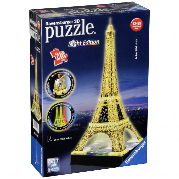 Ravensburger 3D Puzzle-Bauwerke Eiffelturm bei Nacht