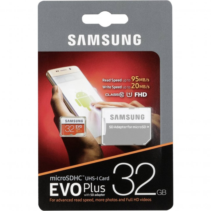 Samsung microSDHC EVO+ 32GB mit Adapter MB-MC32GA/EU