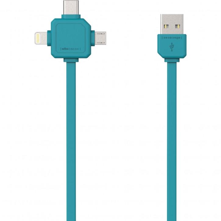 allocacoc USB Kabel blau 1,5 m inkl. microUSB USB-C Lightning