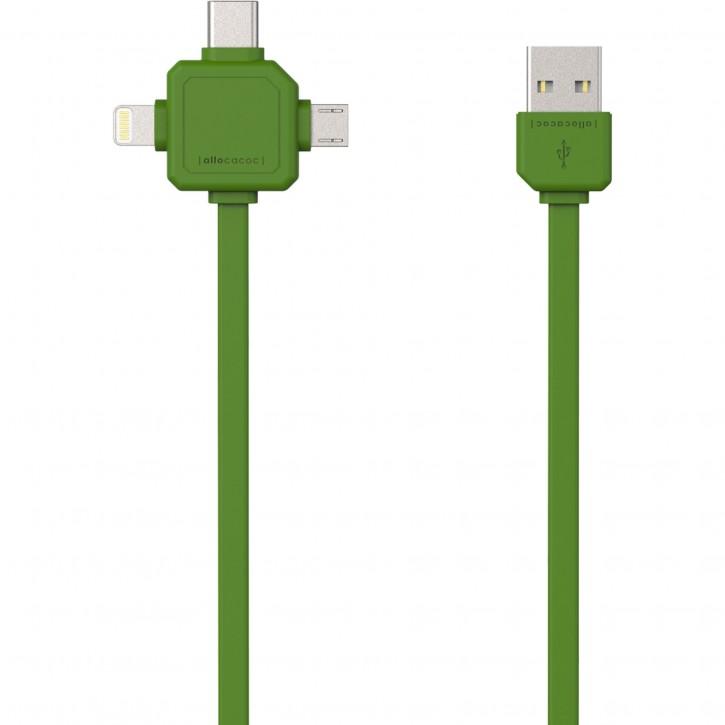 allocacoc USB Kabel grün 1,5 m inkl. microUSB USB-C Lightning