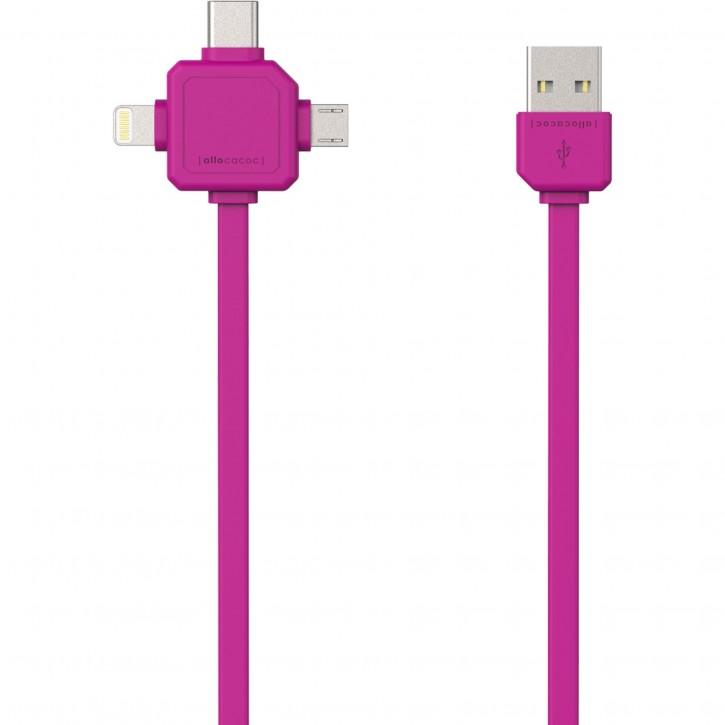 allocacoc USB Kabel pink 1,5 m inkl. microUSB USB-C Lightning