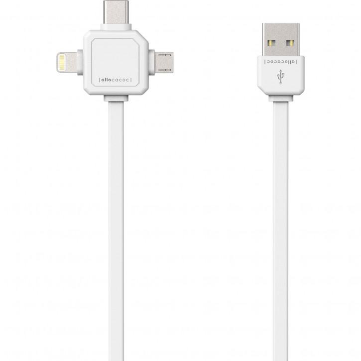 allocacoc USB Kabel weiss 1,5 m inkl. microUSB USB-C Lightning
