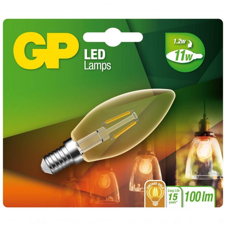 GP Lighting LED Kerze Gold E14 2W (11W), Filament     GP 080565