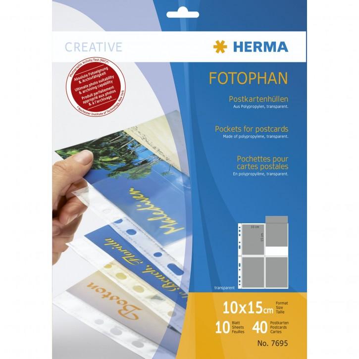 Herma Postkartenhüllen     10x15 10x4 Blatt transparent      7695