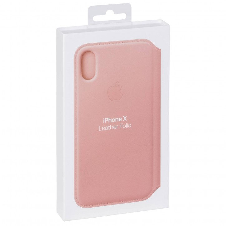 Apple iPhone X Leather Folio Soft Pink