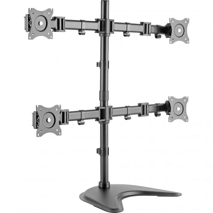 DIGITUS Universal Quad Monitor Stand Black