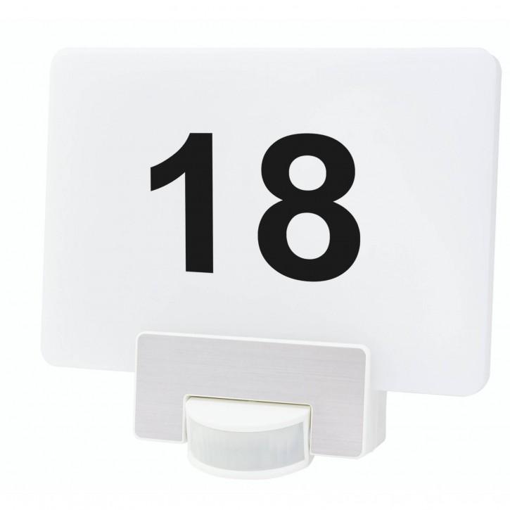 REV McSensor LED Wandleuchte mit Hausnummer 12W weiss
