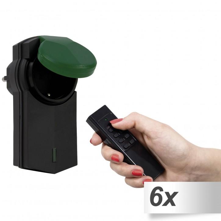 6x REV Funk-Außen-Set IP 44 schwarz/grün inkl. Fernbedienung