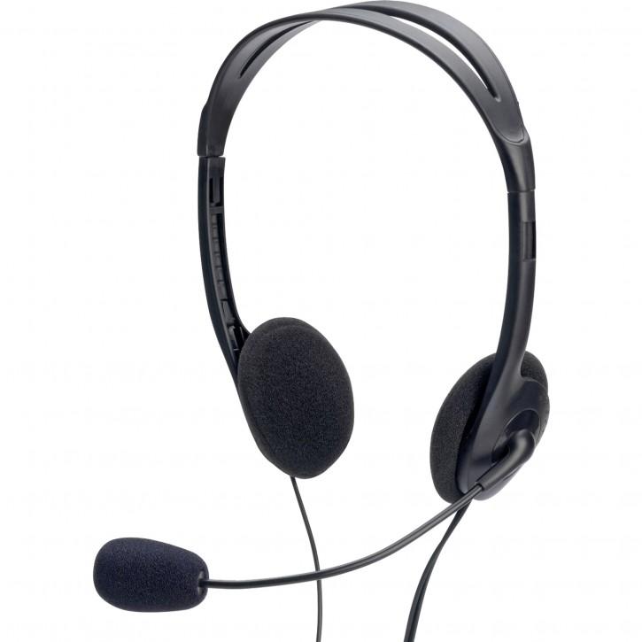 ednet Multimedia Stereo Headset mit Mikrofon 1,8m