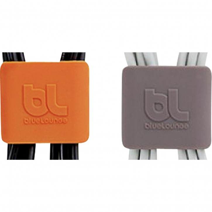 Bluelounge CableClip Medium, Dark Grey & Orange